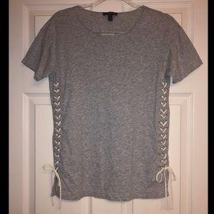 J. Crew heathered gray lace-up t-shirt